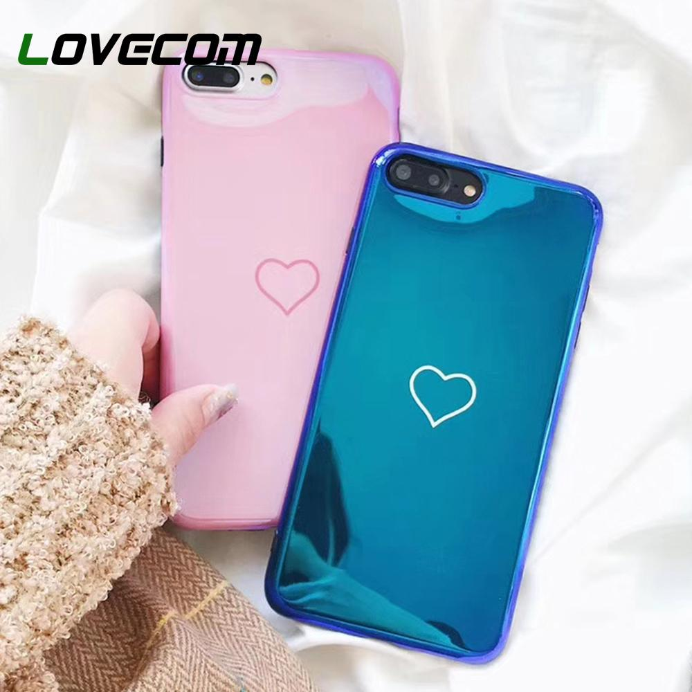 Blu-ray Phone Case For Iphone 6 6s 7 8 Plus X Hot Korean Heart Mirror Soft Tpu Phone Back Cover Cases Best Gifts