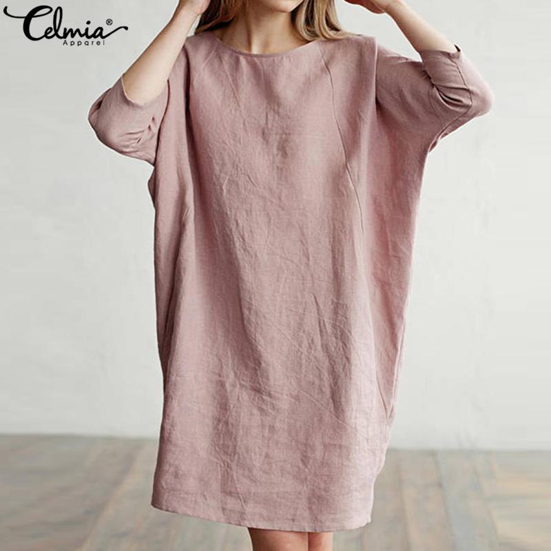 be4c6d2a8aba5 Celmia Women Long Shirt Cotton Linen Dress 3/4 Sleeve Pockets Vintage  Dresses Ladies Casual Loose Solid Mini Vestidos Plus Size Q190419