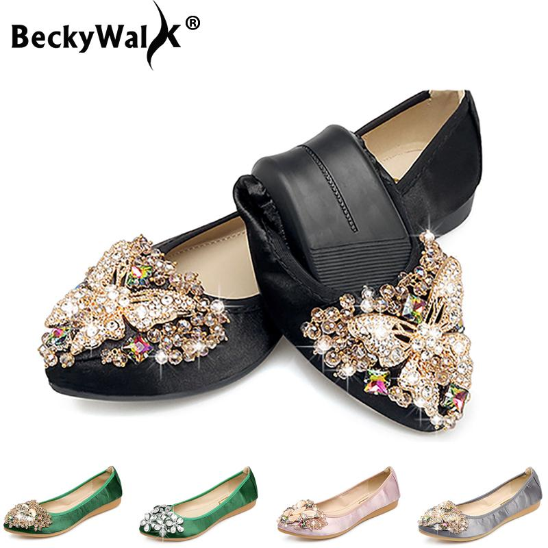 2ad4e74a71a90 Ladies Flats Shoes Women Spring Summer Foldable Ballet Flats Pointed Toe  Rhinestone Slip On Loafers Casual Shoes Woman Casual Shoes Casual Shoes For  Men ...