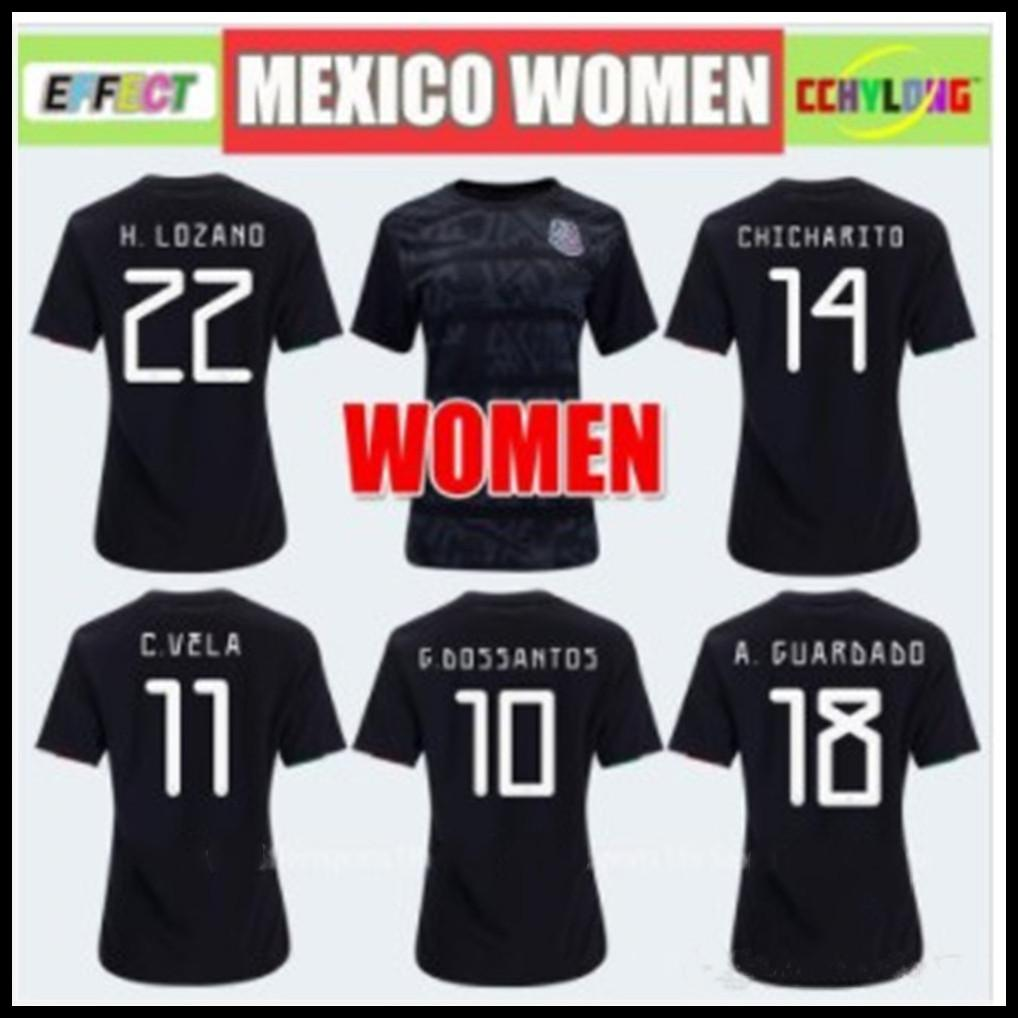5195d9ff4 2019 Women Jersey 2019 Mexico Home Black Soccer Jerseys Gold Cup Girl 19 20  COPA AMERICA CHICHARITO Camisetas Futbol LOZANO VELA RAUL Shirts From ...