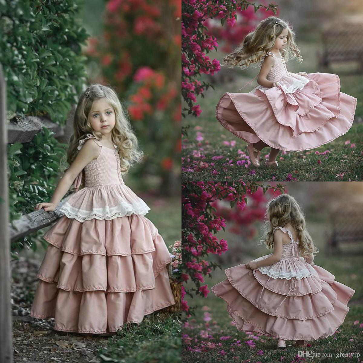 5d05b6903 Lovely Pink Flower Girl Dresses Spaghetti Satin Lace Tiered Skirts ...