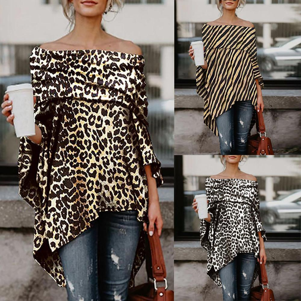 9f02f6df66fe1 2019 New Vetement Femme Women Off Shoulder Leopard Printed Asymmetric  Female Shirts Long Sleeve Tops Blouse Plus Size Clothing Shirt T Shirt Tee  From ...