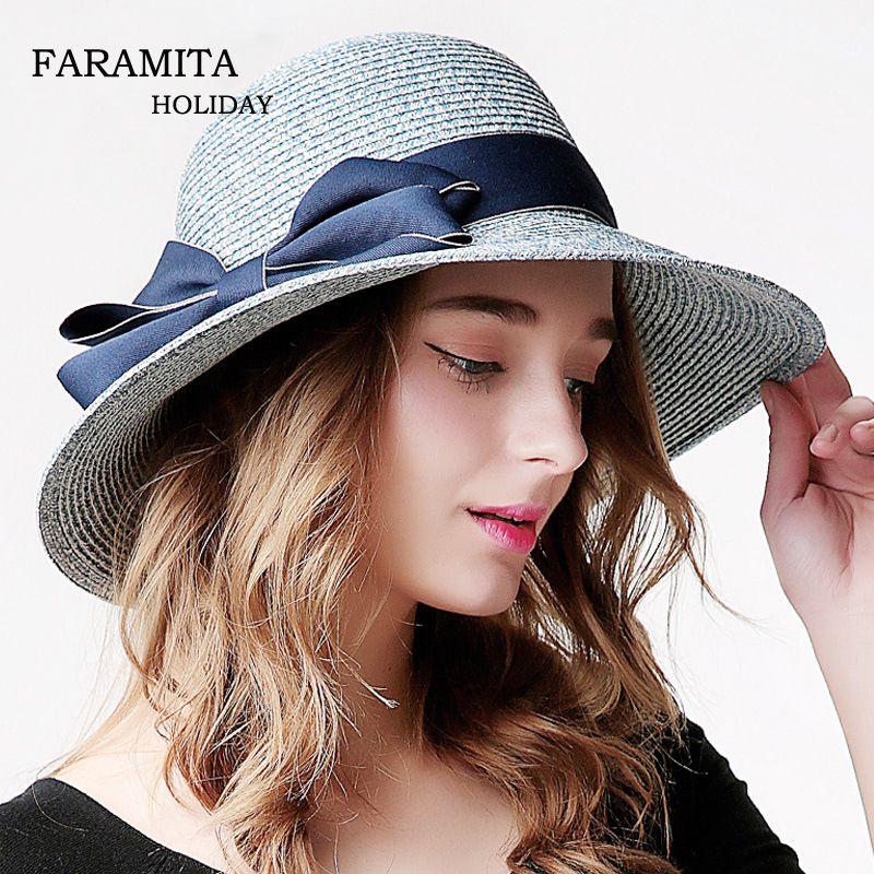 62b7d81f67a20a 2019 Faramita Holiday Wide Brim Straw Hat Floppy Cap Summer Sun Women Hot Fold  Beach Hat Soft Bowknot Travel Fashion Ladies From Heheda1, $60.66   DHgate.