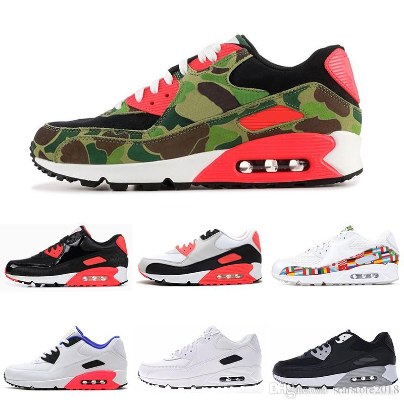 277c76db 2019 Hot 90 Mens Running Shoes Triple Negro Blanco EE. UU. Oreo BLACK CROC  Hombres Mujeres Entrenador Transpirable Calzado Deportivo Tamaño 36 45 Por  ...