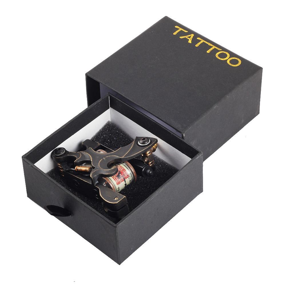 Premium-handgefertigte reine Kupfer-Tätowierungsmaschine Hohe Qualität 10 Wickelspulen Tattoo-Maschine für Liner-Körper-Kunst-Gun-Make-up-Tool