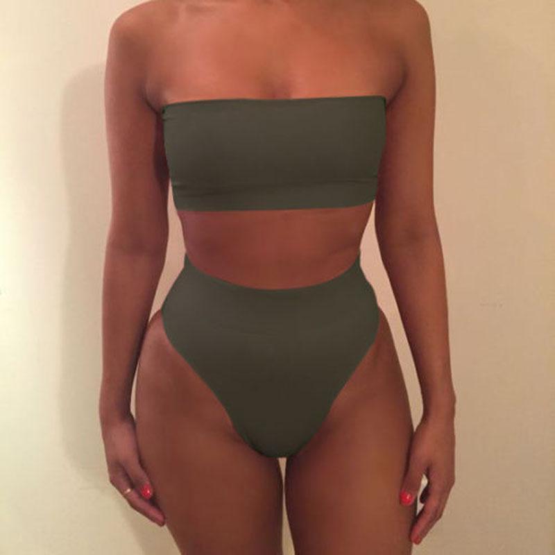 dc81ad6e3e7b3 2019 High Waist Swimsuit Sexy Bikini Women Brazilian Pad Swimwear Push Up  Bandeau Top Plus Size Bottom Bikini Set Bathing Suits Swimsuit Swimwear  Bikini ...