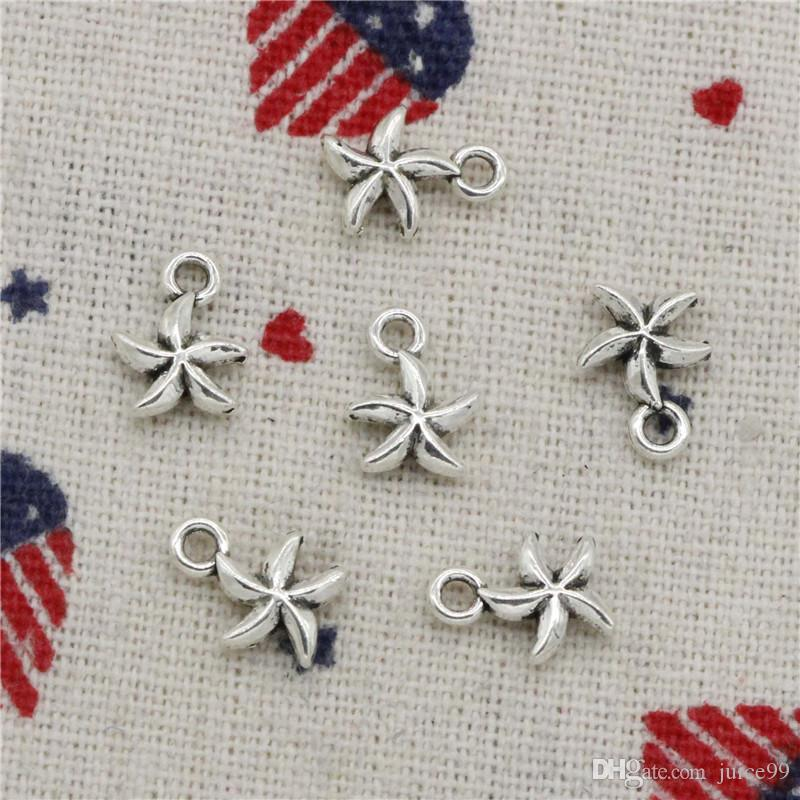 ca3d85fe3d75 500 unids encantos de doble cara encantadora estrella de mar estrella 11 *  8 mm colgante, colgante de plata tibetana, para DIY collar pulseras joyas  ...