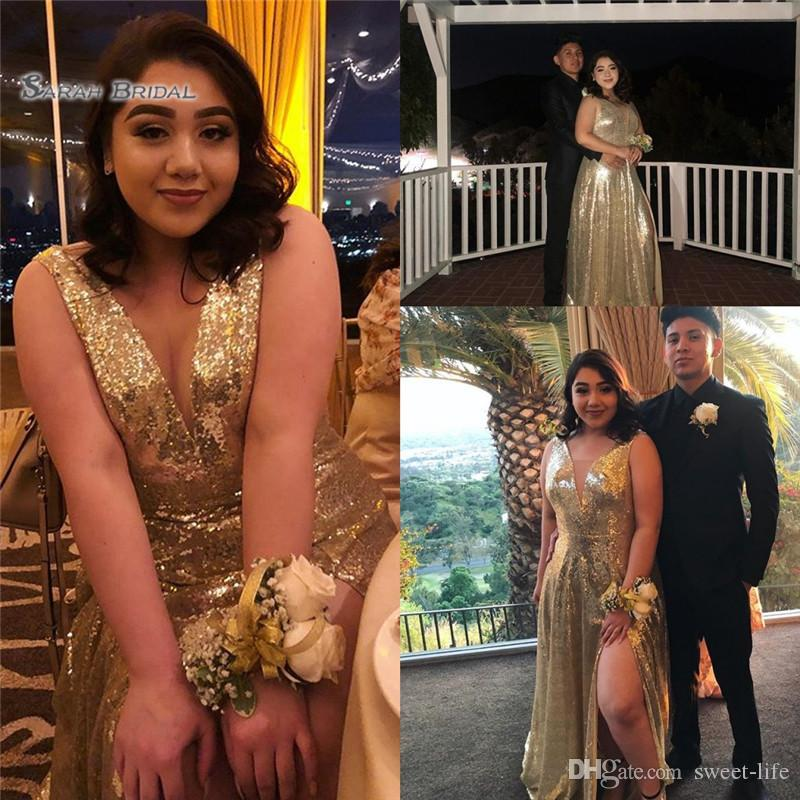 2019 Gold Sequined V-neck Evening Dress With Front Split Custom Made Hot Sales Girls Occasion Dress
