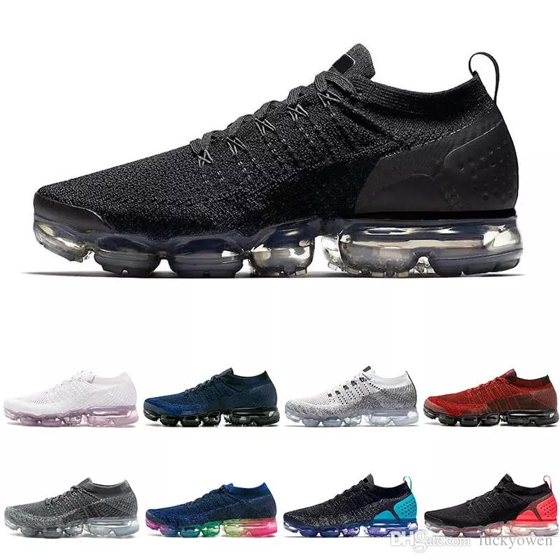 nike air max airmax vapormax flyknit 2.0 Alta calidad 2018 Air Men Women Running Shoes Cojín superficie transpirable línea de mosca zapatillas