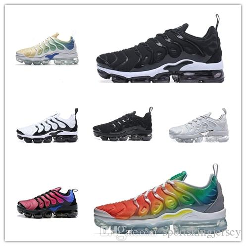 low priced d30ed 32367 Acheter 2018 HOT Tn Plus Triple Black Run In Metallic Hommes Designer  Athletic Chaussures Hommes Running Trainers Femmes De Luxe Chaussures  Sneakers De ...