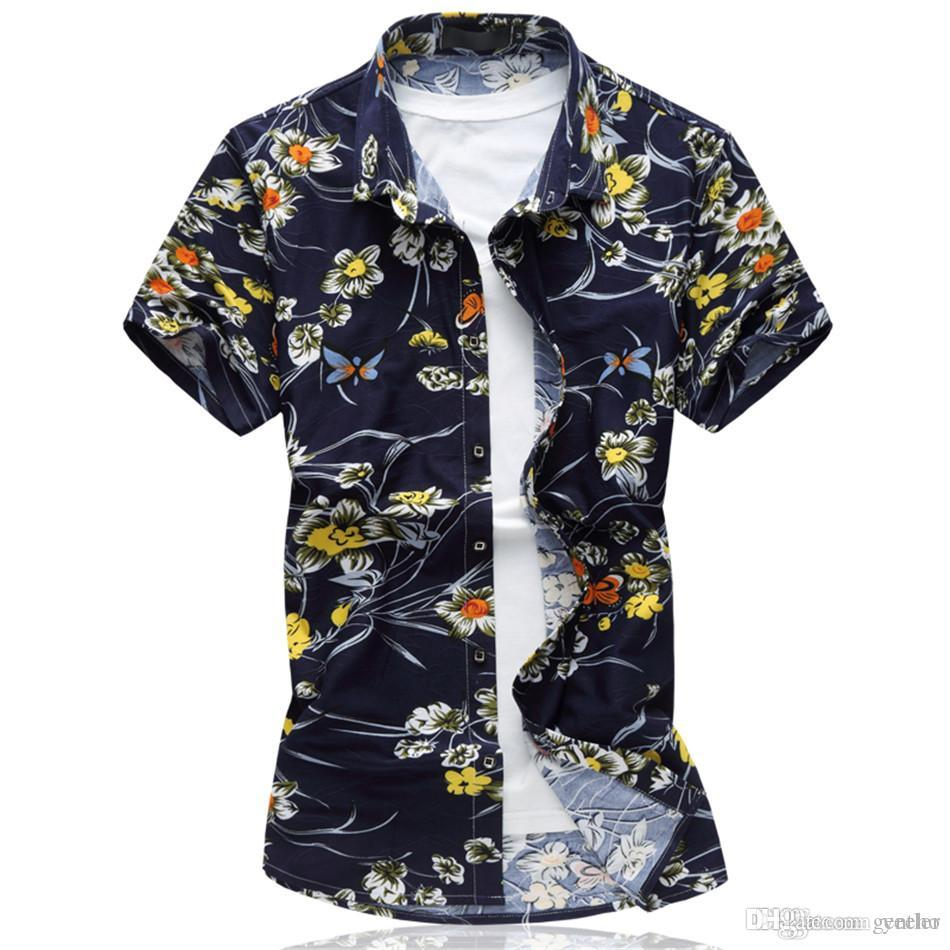 2018 New Fashion Men s Flower Shirt Summer Slim Fit Short Sleeve ... d2e04ff8e