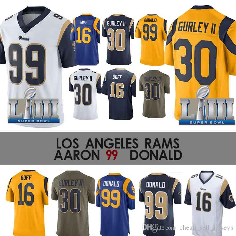 promo code 1bd05 83734 16 Goff Jersey 30 Gurley jersey 99 Aaron Donald5 Nick Foles Los Angeles 30  Todd Gurley Rams