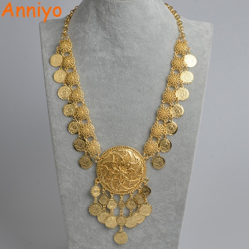 Anniyo 84cm(33 In)dubai Coin Length Necklaces For Women,arab Coin Luxury  Wedding Gift Islam/middle East/african Jewelry #071406 J190530