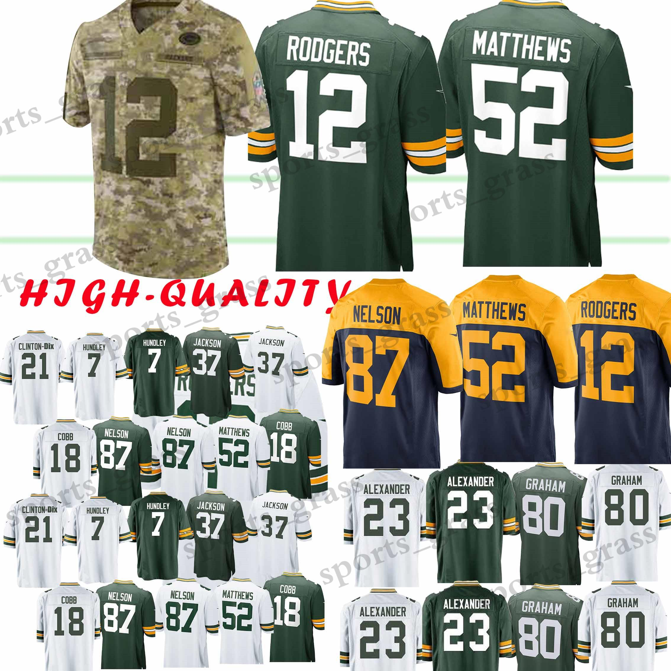 100cf6ff206 2019 Adult 12 Aaron Rodgers Green Bays Packer 52 Clay Matthews 23 Jaire  Alexander 17 Davante Adams 80 Jimmy Graham 4 Brett Favre Jersey From  Sports grass