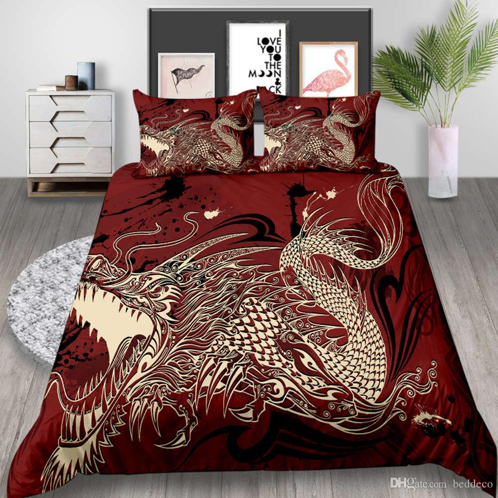 King Size Bedding Set Dragon Classic Red Fashionable Duvet Cover Chinese Queen Twin Full Single Double Bed Cover with Pillowcase