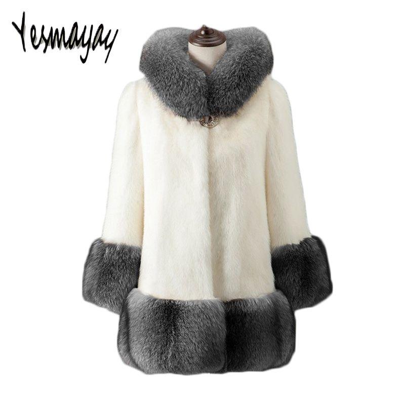 59b5e0a8568 2019 Oversize Faux Fur Coat Plus Size 6XL Women Winter Warm Manteau Femme  Hiver Luxury Elegant Black White Fluffy Jacket With Hood From Wochanmei