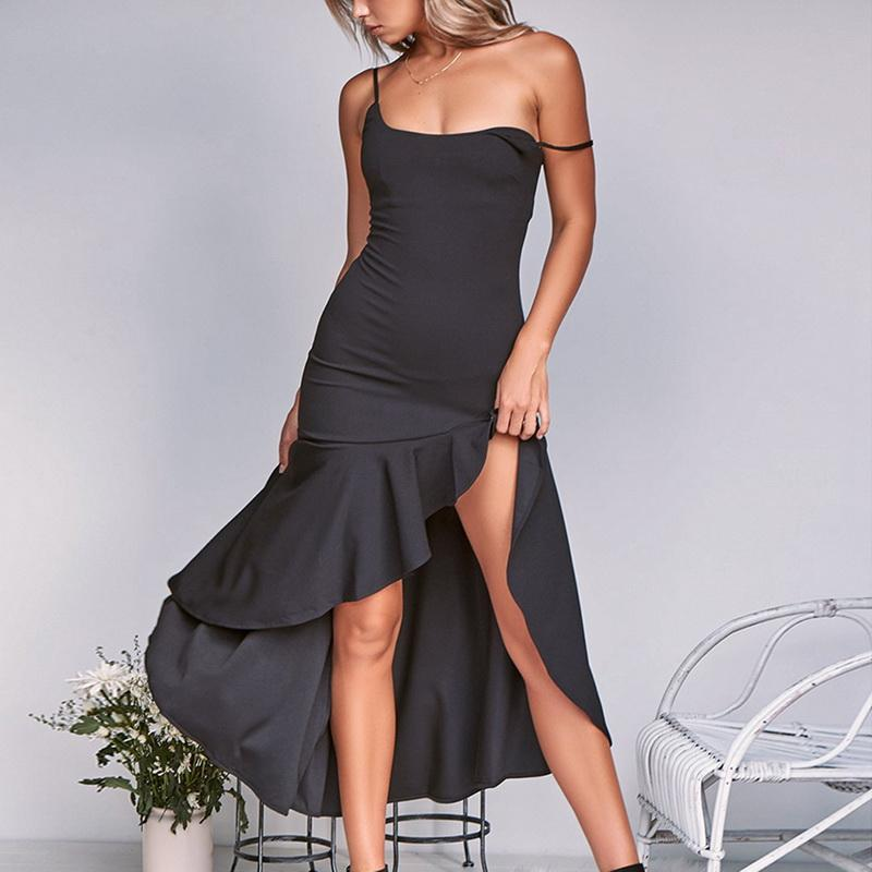 99b8c57506844 Laamei Bohemia Irregular Ruffles Summer Dress Women Sexy Spaghetti Strap  Dress Bodycon Fashion Party Club Long Vestidos