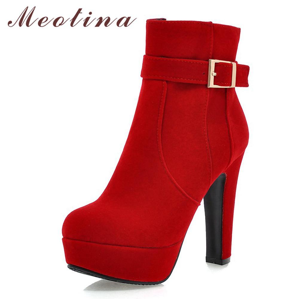 52ca9266 Compre Meotina Martin Botas Mujer Botas De Invierno Hebilla Super Tacón  Alto Plataforma De La Cremallera Del Tobillo Zapatos De Tacón Grueso Dama  Rojo 33 43 ...