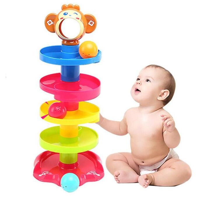 Monkey 5 Layer Tower with Roll Swirling Ramps and 3 Balls Development Puzzle Educational Toys for Babies Toddlers