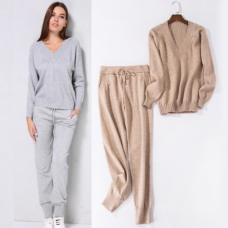 63594b9b31 Compre Traje De Suéter De Las Mujeres Y Setscasual Suéteres Pantalones 2  Unids Trajes De Pista Mujer Casual Pantalones De Punto + Jumper Tops Ropa  Conjunto ...