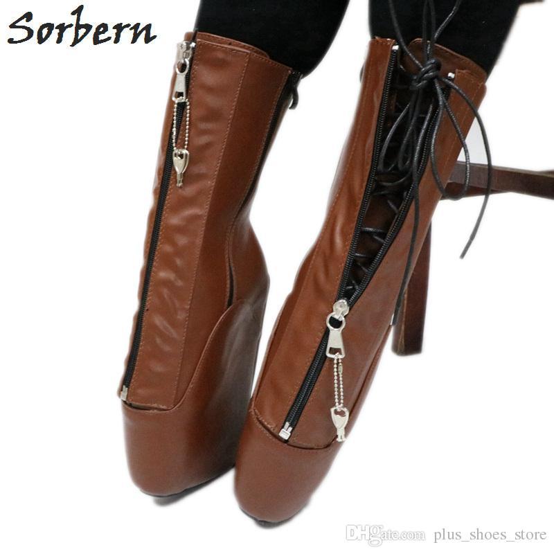5c46a5c5576 Sorbern Calf Ballet Wedge Boot Women Large Size 44 Zip Lockable Hoof  Heelless Pinup Brown Matte Shoes Unisex Fetish Heels New Chukka Boots Men  Slipper Boots ...