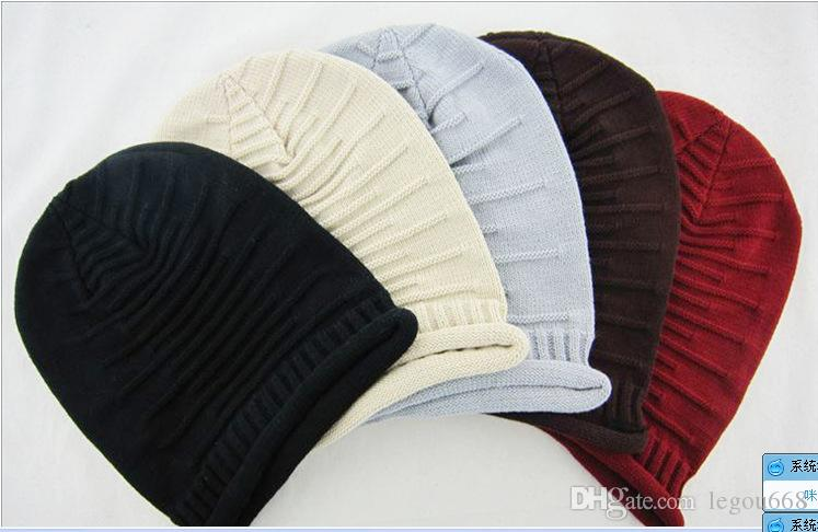 Wholesale - Fashion Beanie Skull Caps Mens Womens Spring & Fall Winter Wool 3Colors Knitted Ruffle Layers Plain Hats Caps WL892