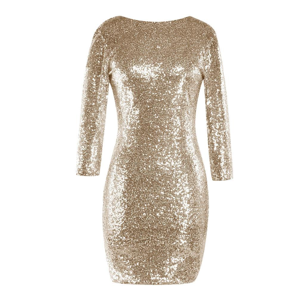 Dress Women S Sparkle Glitzy Glam Sequin Long Sleeve Flapper Party Club Dress  Feitong Elegant Solid V Neck New Arrival Cheap Cocktail Dresses Cotton  Dresses ... 019f8ffa44b6