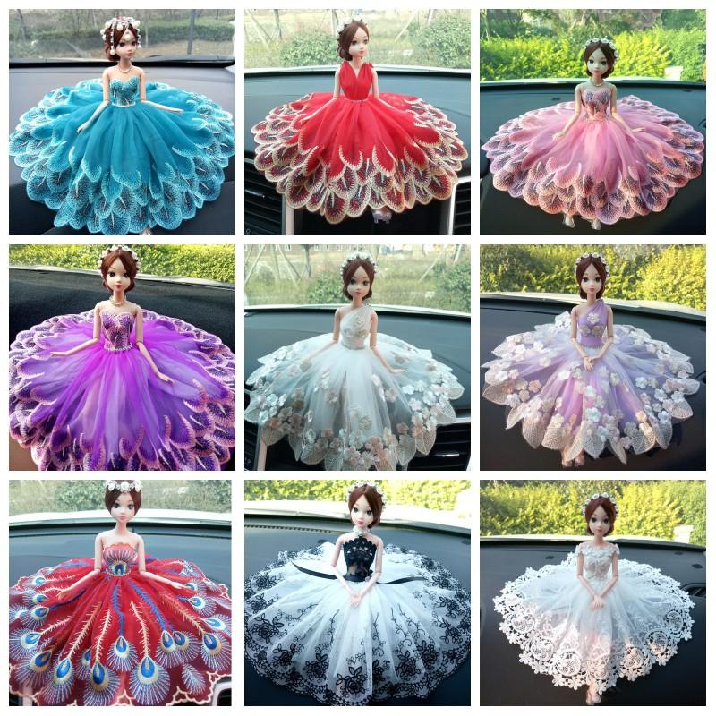 Creative Wedding Dress Doll Fancy Peacock Lace Skirt Dolls Elegant Girls Gifts Toys Cars Decoration Hand Craft 16zy O1