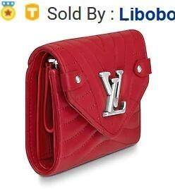 libobo4 2019 M63428 NEW WAVE COMPACT WALLET red Real Caviar Lambskin Chain Flap Bag LONG CHAIN WALLETS KEY CARD HOLDERS PURSE CLUTCHES