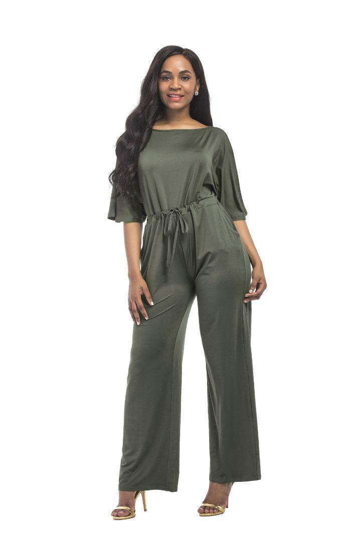 2019 Summer Women Slim Jumpsuit Half Sleeve Wide Legs Jumpsuit Casual Solid Lace Up Jumpsuits