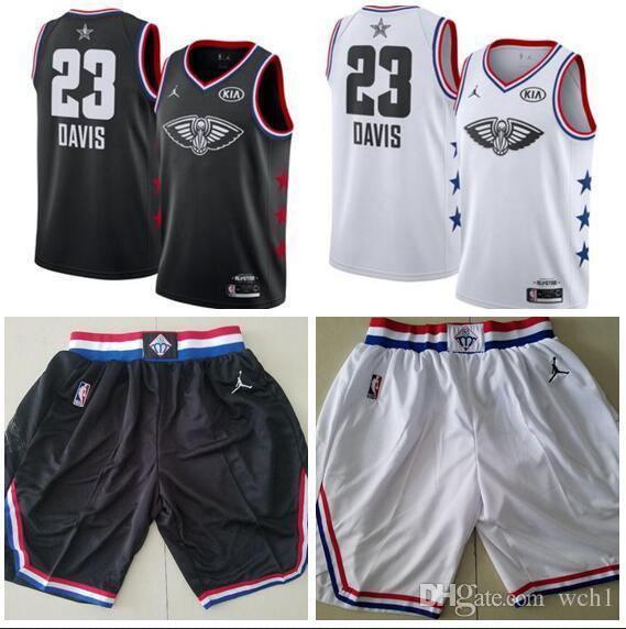 31000c54db7 2019 Men S New Anthony Orleans 23 Davis Brand White Black 2019 All Star  Game Finished Swingman Jersey And Ball Short From Good colorful