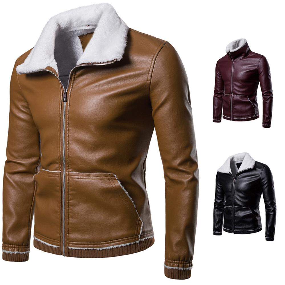 a2458b07e Men Tactical PU Leather fleece Jacket Winter Bomber Jacket Slim Casual  Autumn Motorcycle Windbreaker Clothing