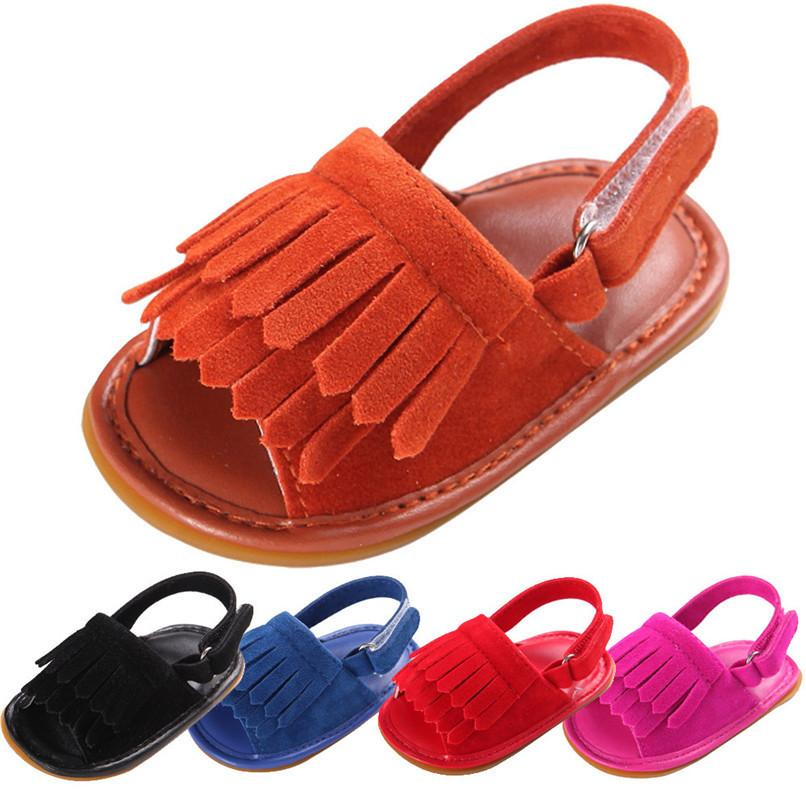 7 Color Summer Girls Sandals Toddler Baby Girl Solid Crib Shoes Newborn Tassels Soft Sole Anti-slipShoes Sandals M8Y04