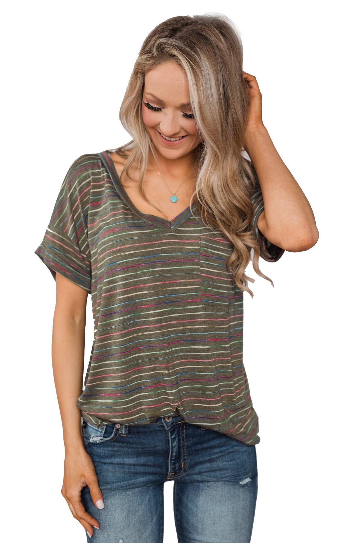 the latest ff4ee 45200 Acquista Camicia Da Donna Estiva Con Scollo T Shirt Manica ...