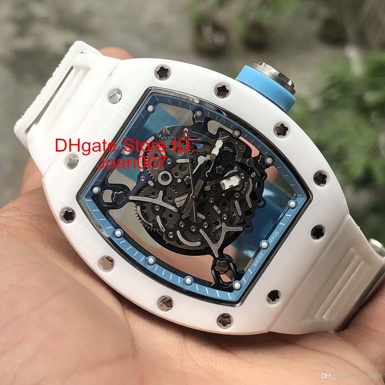 af0a29a4ee6 Compre Reloj De Lujo RM055 Relojes De Cerámica De Los Hombres Blancos Esqueleto  Mecánico Automático Reloj De Goma Hombres Ocasionales Vestido Reloj ...