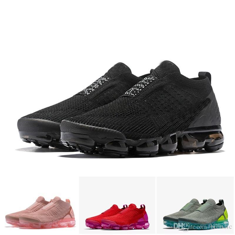 super popular 902e5 1dc5f 2018 Hombres Mujeres Zapatos Deportivos Para Correr Cojín Nike Air Max  Airmax Vapormax Vapor Flyknit Moc 2 Laceless 2.0 Zapatillas Triples Blanco  Negro ...