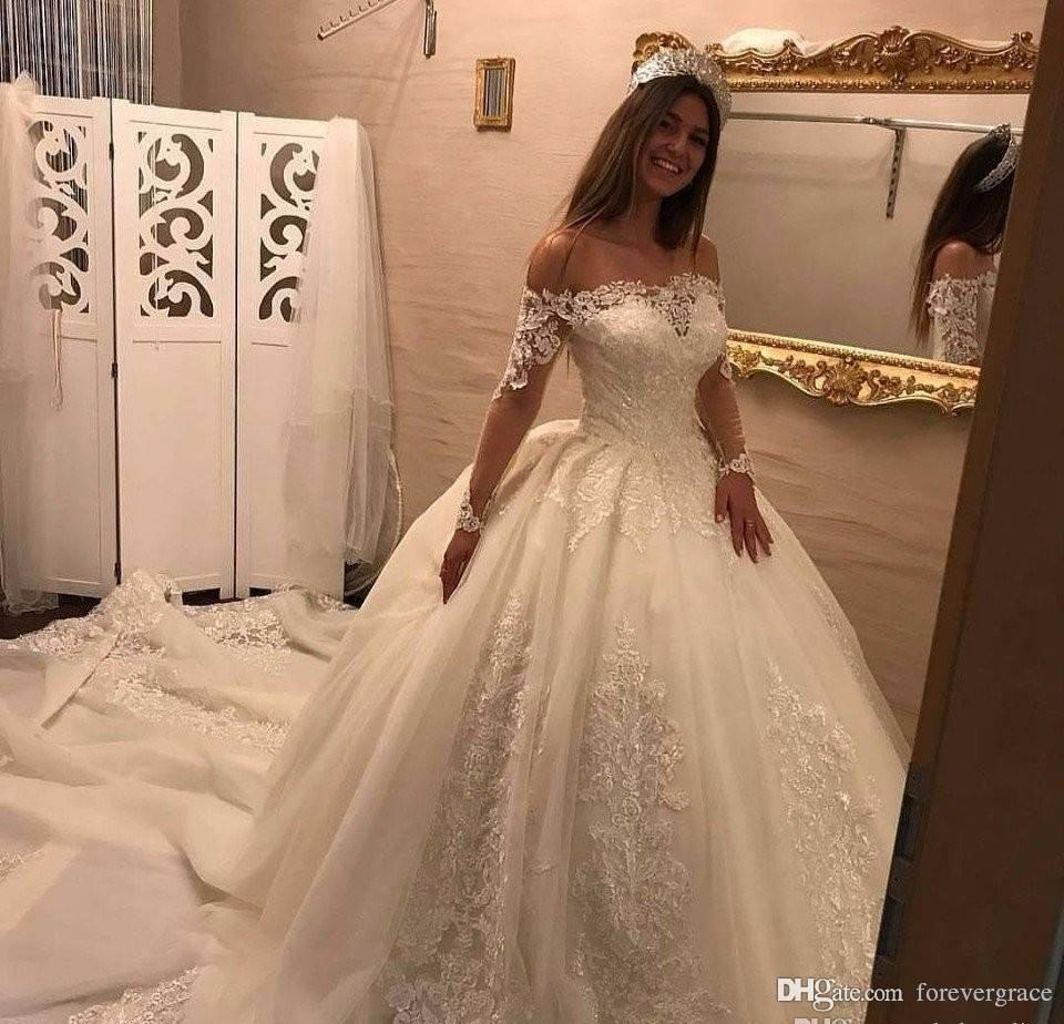 2019 Dubai Arabic Wedding Dresses Lace Appliques Off: 2019 Vintage Arabic Dubai Long Sleeves Wedding Dress