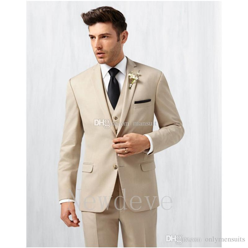 New Style Groomsmen Notch Lapel Groom Tuxedos Champagne Men Suits Wedding/Prom/Dinner Best Man Blazer ( Jacket+Pants+Vest+Tie ) M1152
