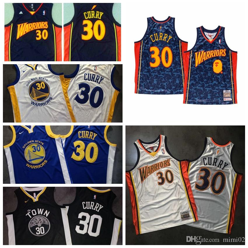 outlet store 40643 70a72 2019 HOT mens Stephen 30 Curry Golden JERSEY States GSW Warriors Mitchell &  Ness Swingman basketball Jersey White and Black