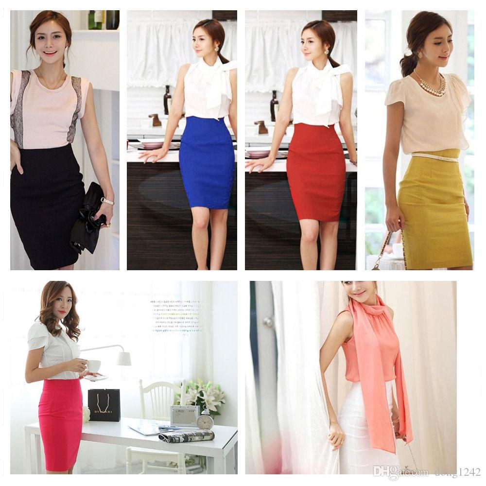 6740caa5e6 2019 Women Fitted Business Knee Long Slimming High Waist Office Pencil Skirt  From Dong1242, $21.09 | DHgate.Com