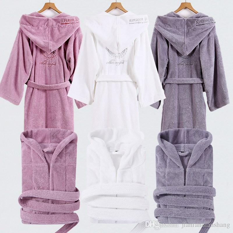 aa00b017df Bathrobe Men Male With Hooded Thick Cotton Towel Fleece Dressing ...