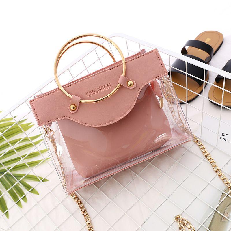 940b6c918321 2019 Summer New Handbag High Quality Pvc Transparent Women Bag Metallic  Ring Tote Bag Beach Travel Chain Shoulder Messenger Bag Womens Bags  Wholesale Bags ...