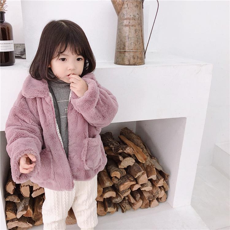 Koreran Style Winter Baby Girls Fashion Soft Rabbit Hair Thicken