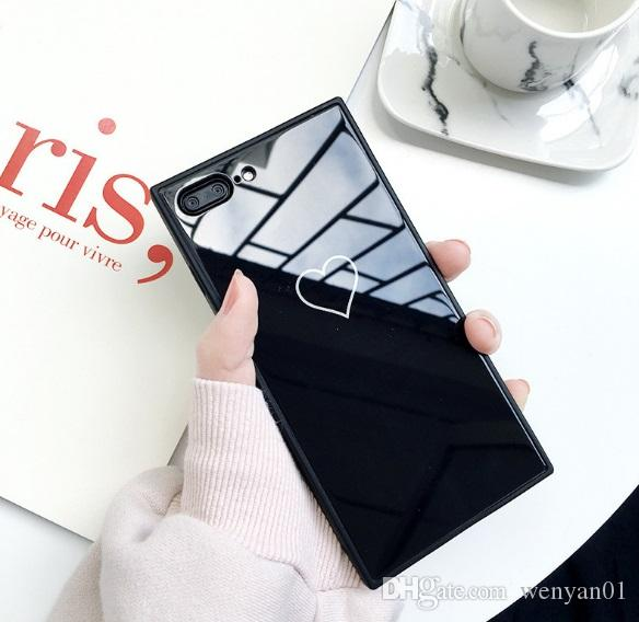 New Cell phone Case For Iphone X 8 7/7 Plus Square Glass Creative Love Cell Phone Shell For Iphone 6/6S protective covers