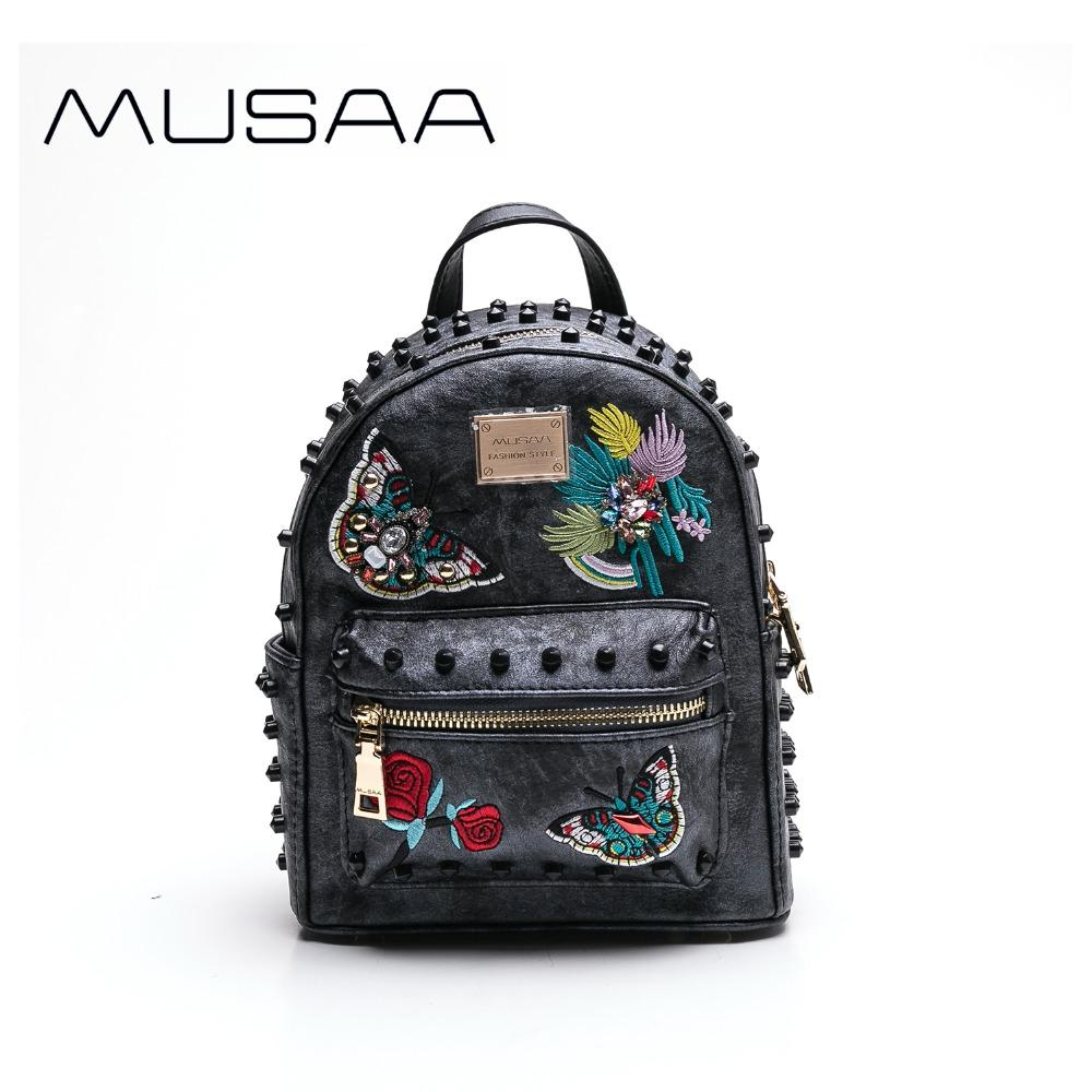 0f6040880bca MUSAA Vintage Black Mini Backpack female 2018 PU leather School Shoulder  bag Embroidery Rivet Fashion Wholesale Butterfly