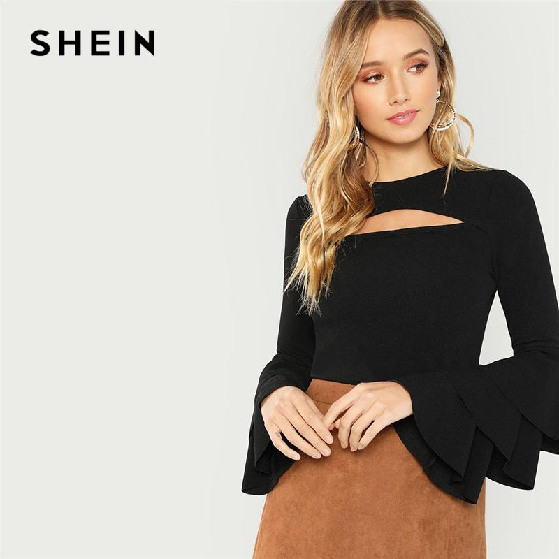 afd08d9483 SHEIN Black Cut Front Tiered Layered Sleeve Solid Tee Sexy Long Sleeve  Round Neck T-shirt Women Autumn Plain Stretchy Tops Y18122101 Online with  ...