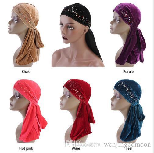 2019 Unisex Men Women Breathable Bandana Hat Rhinestone Velvet Durag Do Doo  Du Rag Long Tail Headwrap Chemo Cap From Wenjingcomeon 2dad833b73d6