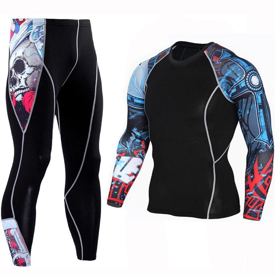 Compre 2 Pçs   Sets Calças De Camisa De T Longo Dos Homens Manhã Correndo  Jogging Workout Roupas De Compressão Extreme Sports Ginásio Masculino Calças  ... c1dbb51bd3558