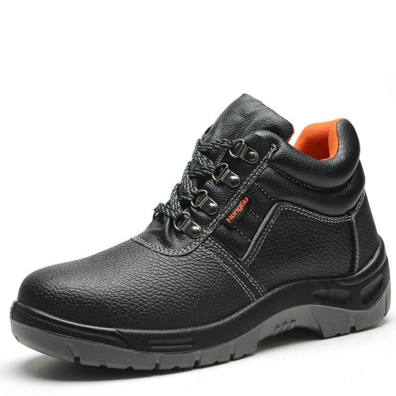 eeb3cfd7052 plus size men leisure steel toe caps work safety shoes soft leather  platform warehouse worker builder dress security ankle boots