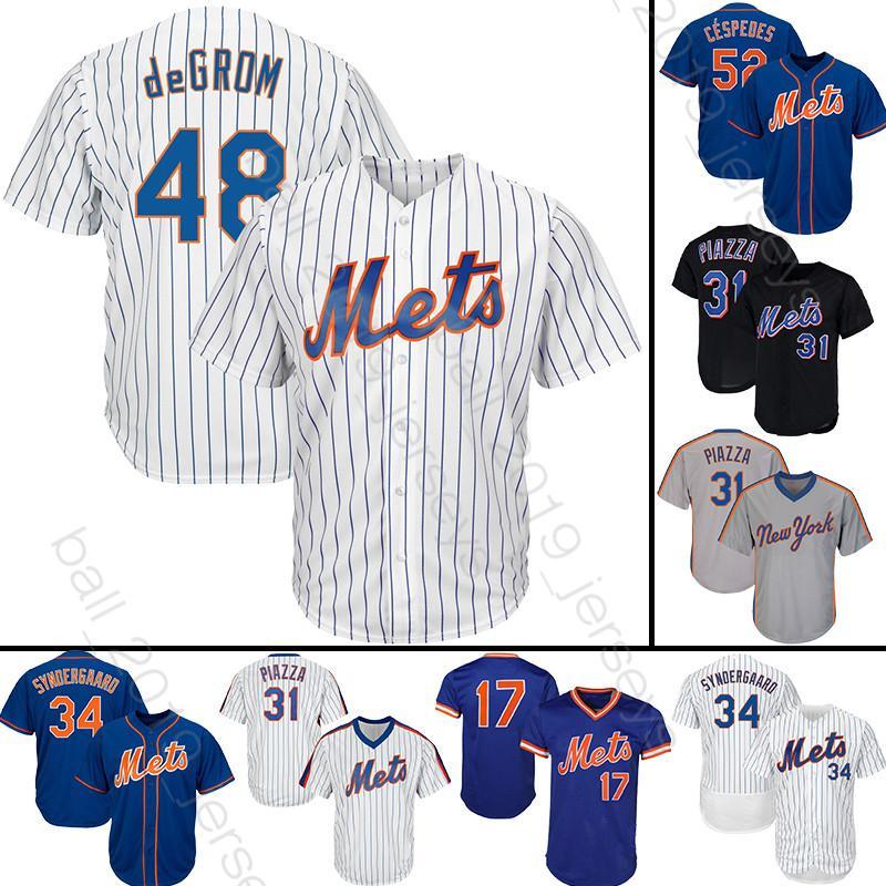 finest selection 16492 2f241 New York 48 Jacob deGrom baseball jersey Mets 18 Darryl Strawberry jerseys  31 Piazza 34 Syndergaard Tshirt